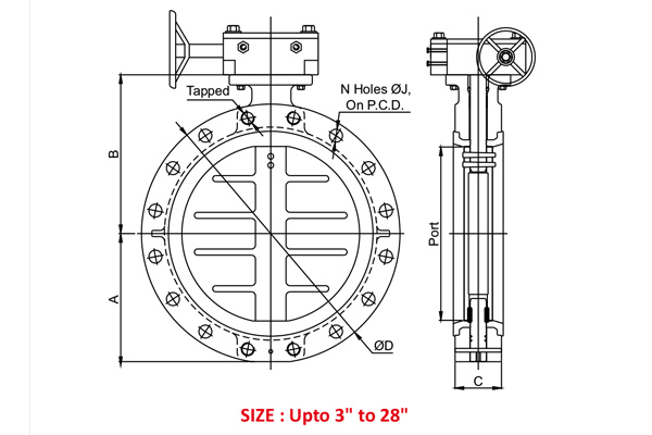 #alt_tagWafer Type Double Flange Butterfly Valve 3