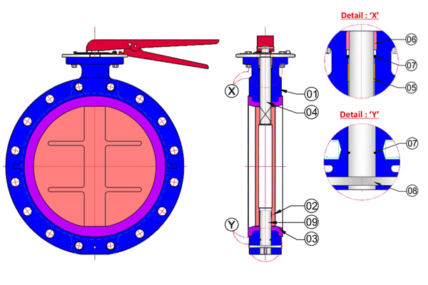 #alt_tagWafer Type Double Flange Butterfly Valve 4