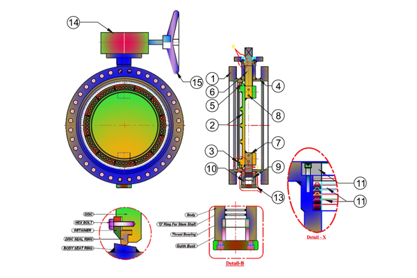 MS Fabricated Double Flange Butterfly Valve 2