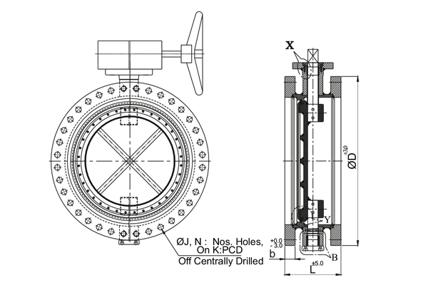 MS Fabricated Double Flange Butterfly Valve 3