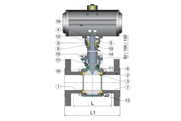 3Pc. Design Extended Shaft Floating Ball Valve-1