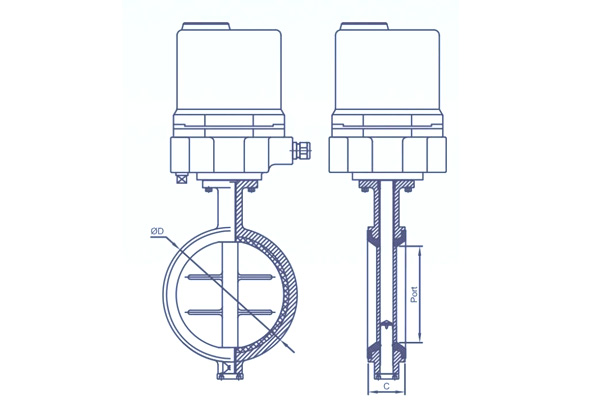 motorized centric butterfly valve with actuator